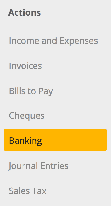 Banking is found in the Actions section.